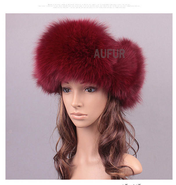 Women Fox Fur Hats Natural Fur Caps Russian Hat Solid Color Snow Headwear Ear Flaps Winter Bomber Hat AU00820