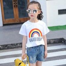 Girls t-shirt short sleeve new cotton 2017 wild fashion rainbow shirt summer 2-16 years old children clothing