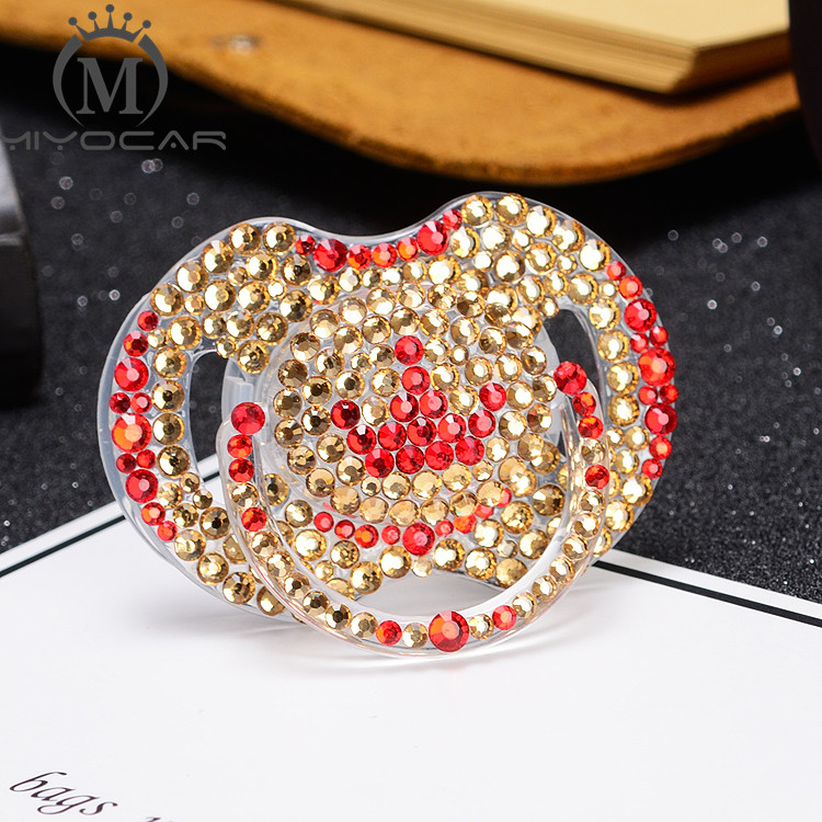 MIYOCAR luxurious bling gloden crystal rhinestone crown Baby Pacifier Dummy BPA free safe pacifier