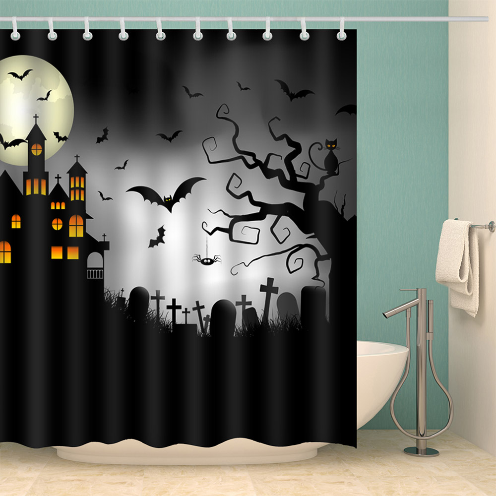180*150cm 1Pcs Shower Curtain Halloween Castle Cemetery Print Water Resistance Fabric Polyester Waterproof Home Bathroom Curtain