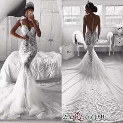 Robe de mariée 2019 Русалка Свадебные платья Sheer спинки с пуговицы покрыты развертки поезд кепки рукава See Through