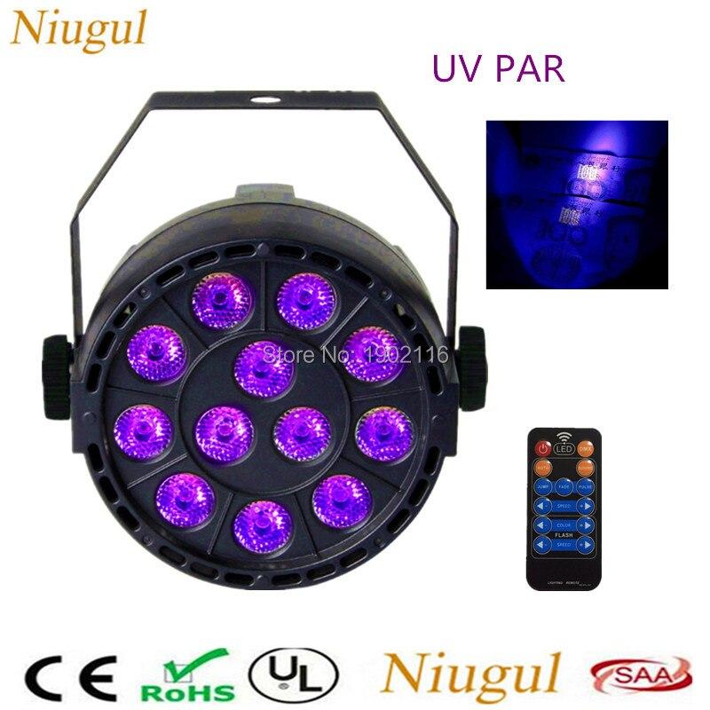 With Remote control 36W 12 LEDs Sound Active UV Led Stage Par Light Ultraviolet Led Spotlight Lamp for party Disco DJ Projector