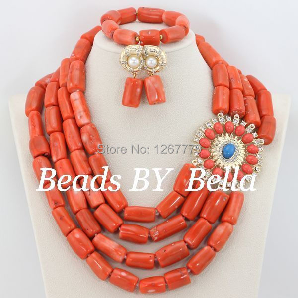 High Quality 4 Rows Necklace Coral Beads Jewelry Set Red African Wedding Party Jewelry Set Free Shipping ABS118 free shipping 2017 fashion red coral beads jewelry set charms red twisted strands african jewelry set high quality cnr132