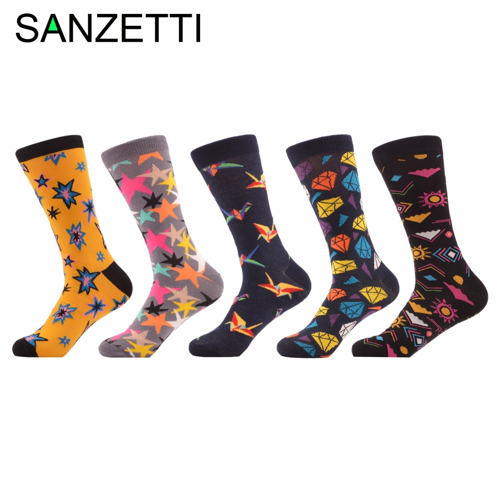 SANZETTI 5 pairs/lot Novelty Mens Colorful Funny Socks Diamond Star Crane Combed Cotton Crew Casual Socks For Wedding Birthday