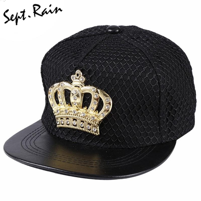 [Sept.Rain] 2017 New Fashion Crown Metal Logo Snapback Hat Bone With Diamond PU Leather Snapback Hip hop Baseball Caps Hat 2018 new arrival baseball caps icon logo