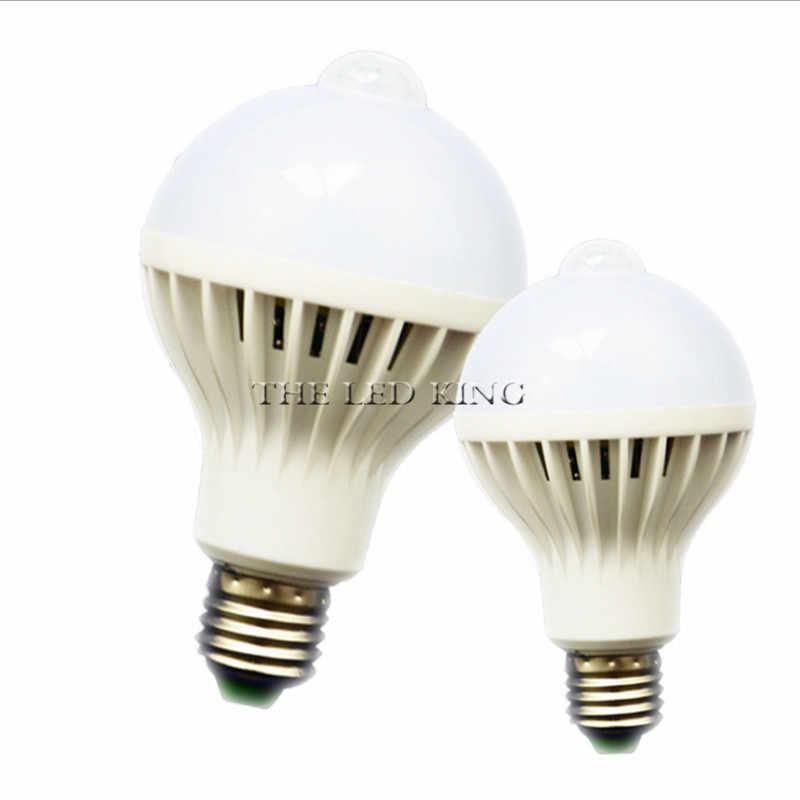 LED PIR חיישן תנועת מנורת 220V 110V 5W 7W 15W LED הנורה אוטומטי חכם אינטליגנטי PIR אינפרא אדום גוף חיישן תנועת אור E27 שקע