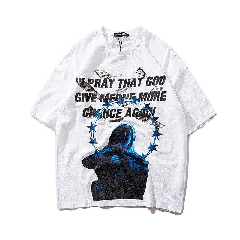 Image 5 - Men tshirts US Dollar Reflective Strip Maria Print Hip Hop T shirts Men Streetwear 2019 Fashion Summer Spring Tops Tees HS76-in T-Shirts from Men's Clothing