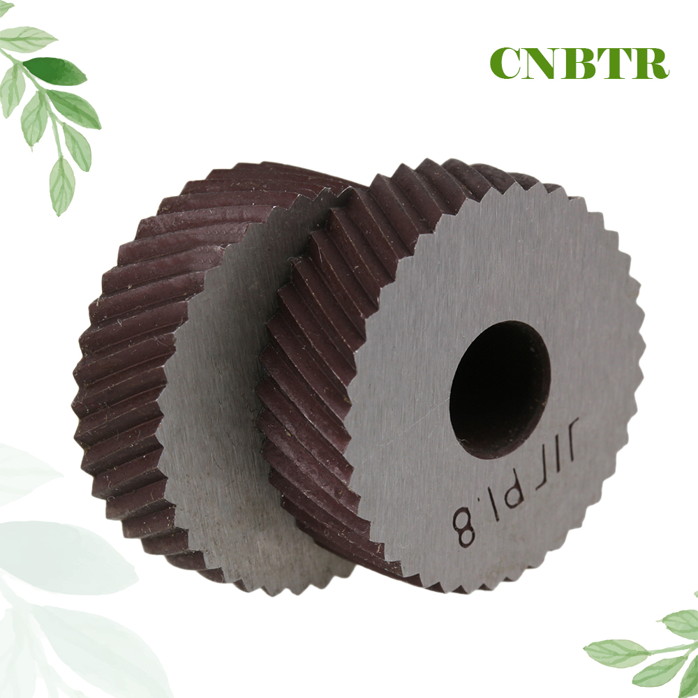 CNBTR 1.8mm Pitch 26x8x8mm Silver Steel Diagonal Coarse Knurl Wheel Knurling Roller Pack of 2
