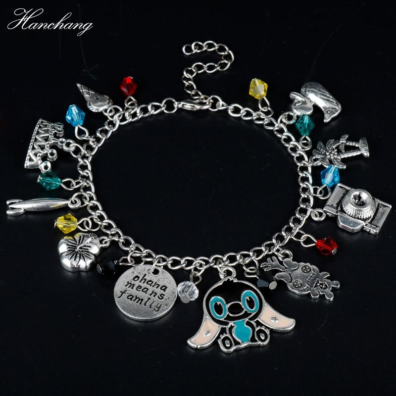 HANCHANG Jewelry Ohana Means Family Bracelet Inspired Lilo Stitch Camera Crown Flower Crystal Pendants Bracelet Women Girls Gift