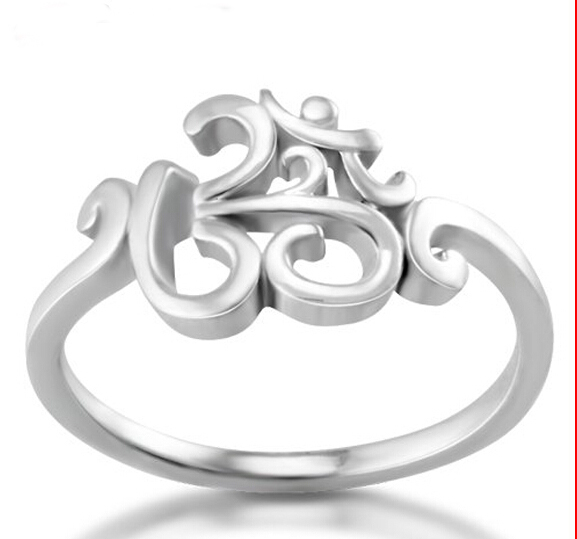 high quality Chuvora 925 Sterling Silver Calligraphy Style Yoga jewelry, Aum, Om, Ohm, India Symbol Ring