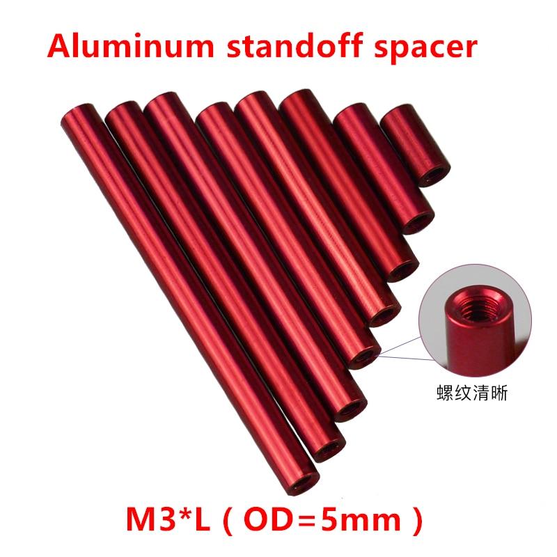 10 Pcs M3 Aluminium Kolom M3 * 4/5/6/8/10/12/15 /20/25/30/35/37/40mm Ronde Standoff Spacer Studs Geanodiseerd Rood Glanzend