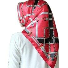 New Fashion Women Square Hijab Scarf Silk Satin Head Neck Shawl Stole Wraps Female Summer 90*90cm Elegant Bow