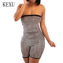 KEXU Fashion Front and Rear Sequined Off Shoulder Jumpsuits Sexy Sleeveless Hollow Out Glitter Playsuits Women Salopette Femme