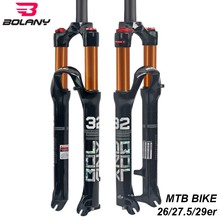 лучшая цена Bolany MTB Bike Front Fork 26 27.5 29er Inch Magnesium Alloy Air Dampong Mountain Bike 32 RL100mm Fork Disc Brake Bike Parts