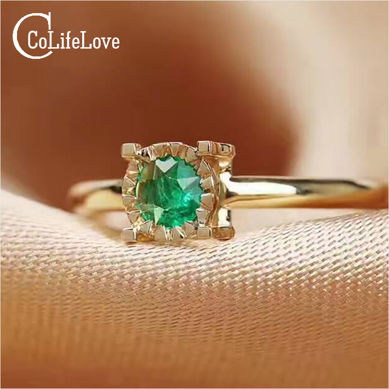 CoLife Jewelry Luxurious emerald ring 4 mm 0 3 ct natural emerald silver ring solid 925