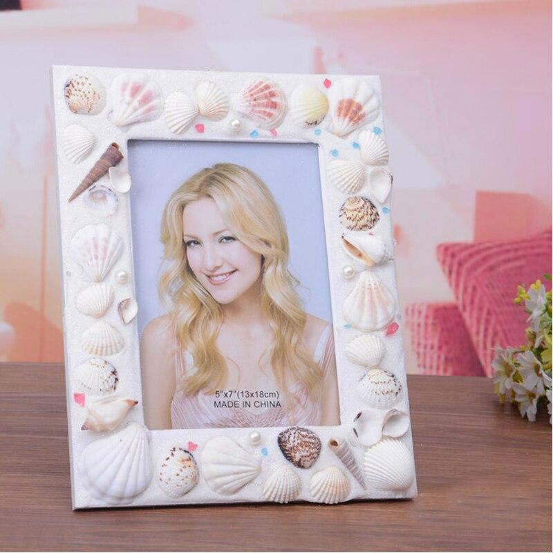5 pulgadas natrual Seashell foto marcos para decoración del hogar o ...