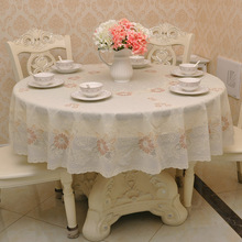 Rose Gold Oil Proof Pvc Round Tablecloth 2 Layer Plastic Romantic Crochet Lace Table Covers Home Party Wedding Decoration