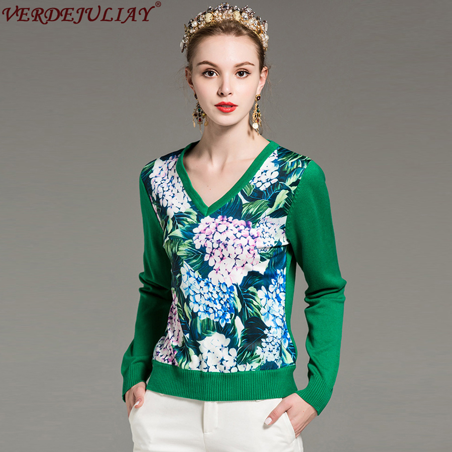 Women Sweaters 2018 Hot Sale Spring Fashion Flowers Print V Neck Patchwork Knitting Top Shop Green Pullovers Novelty Sweater