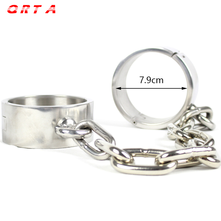 QRTA 1.7kg Newest Male Female Metal stainless steel Chain Fetter Anklet Shackles Restraint Bondage ankle sex toys adult product