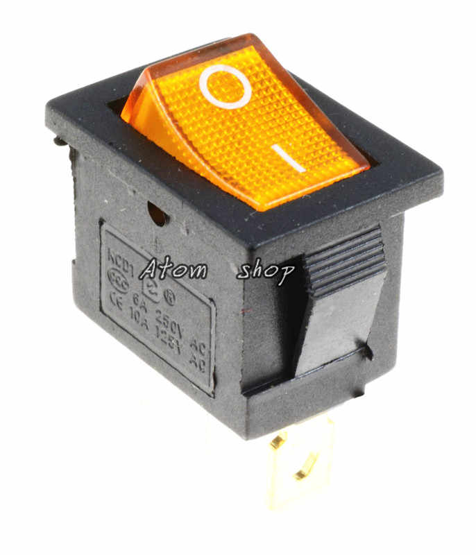 1 Pcs Kuning 3PIN Diterangi LED Rectangle Rocker Switch Mobil Dash Otomotif 6A 250VAC/10A 125VAC SPST KCD1