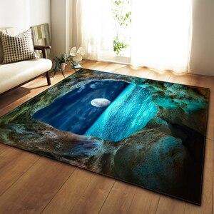 Image 3 - Tapis nordiques doux flanelle 3D imprimé petits tapis salon galaxie espace tapis tapis anti dérapant grand tapis pour salon décor
