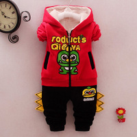 Kids Fleece Hoodie Baby Sweatshirt Boys Girls Long Sleeve Cotton T Shirts+pants suit Children Winter Inside Tops Toddler sets