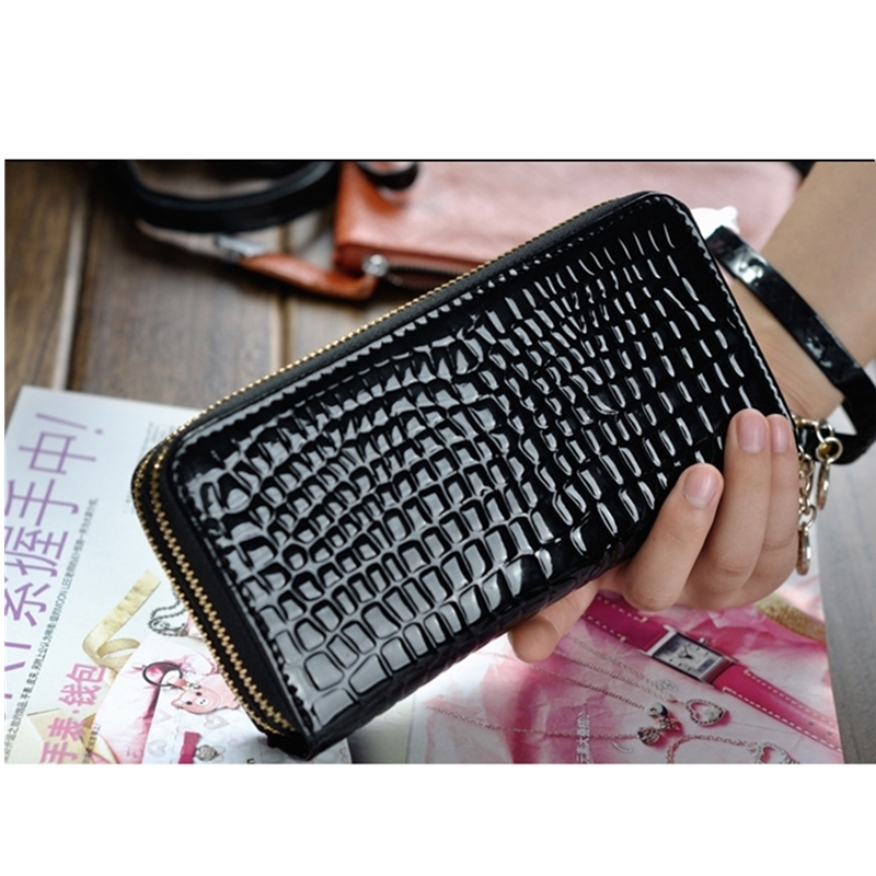 Real Field RF New Fashion Women Clutch Bag Bonded Split Leather Wristlet Lady Purse Crocodile Wallets Female Two Zipper Bags 096
