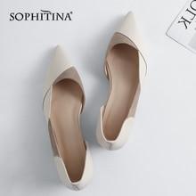 SOPHITINA модный пэчворк Для женщин Высококачественные туфли на плоской подошве из натуральной кожи; удобная обувь без застежки острый носок низкие Туфли без каблуков MO160