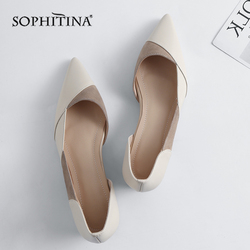 SOPHITINA Flats Women High Quality Patchwork Genuine Leather Fashion Pointed Toe Leisure Shoes Elegant Slip-on Flats Shoes MO160