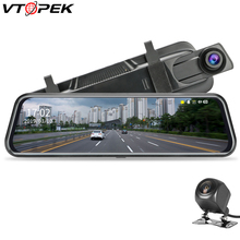 """Stream RearView Mirror Dvr Dash Camera 10"""" IPS Touch Screen Full HD 1080P Car Dvr Dash Cam Night Vision with 720p Backup Camera"""