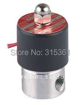 """5 штук в упаковке, шт./лот 2 трехходовых электромагнитных клапана 1/"""" Порты Нержавеющая сталь нормально закрытый FKM масло кислота AC220V 1PC-2S025-08-V"""