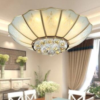 Американский потолочные лампы хрустальные лампы Ousailuosi меди спальня Европейский стиль гостиная спальня TD2 ya75