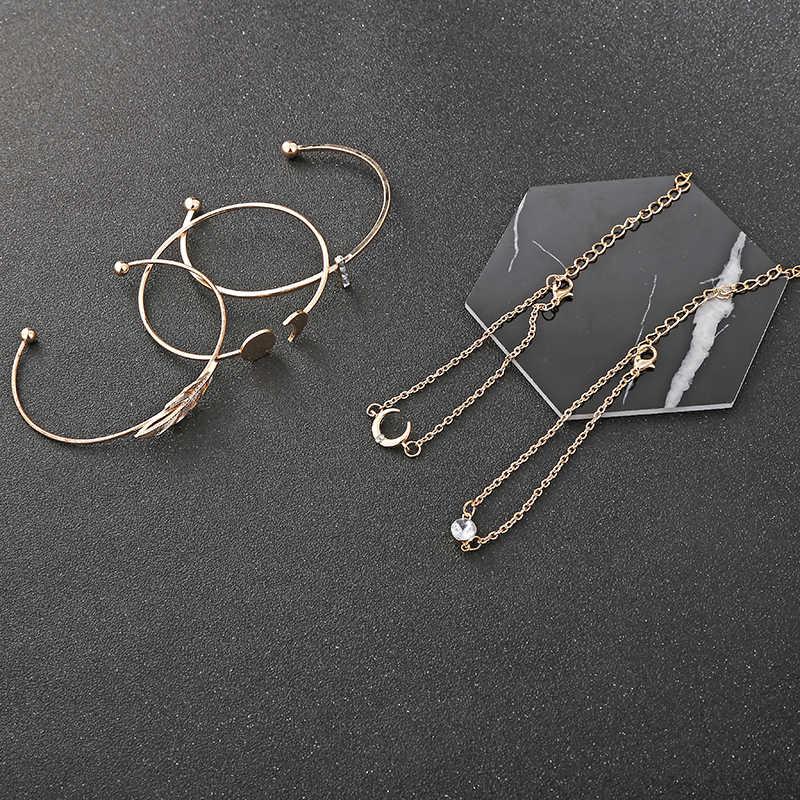 XIYANIKE 5 teile/satz Mode Punk Gold Kette Mond Blatt Kristall Geometrie Öffnen Armband Set Frauen Charme Strand Schmuck Party Geschenk b27