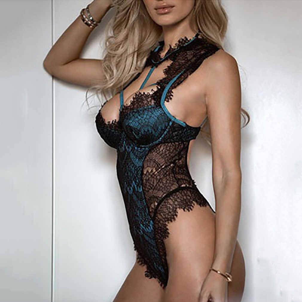 Sexy Vrouwen Kant Bloemen Lingerie Exotische Hot Body Nachtkleding Vrouwelijke Bandage Ondergoed G-string Babydoll Nachtkleding Teddybeer