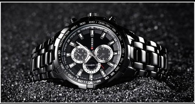 CURREN 2018 New Luxury Fashion Analog Military Sports Men Watches Full Steel Band Black Quartz Male Clock Relogio Masculino
