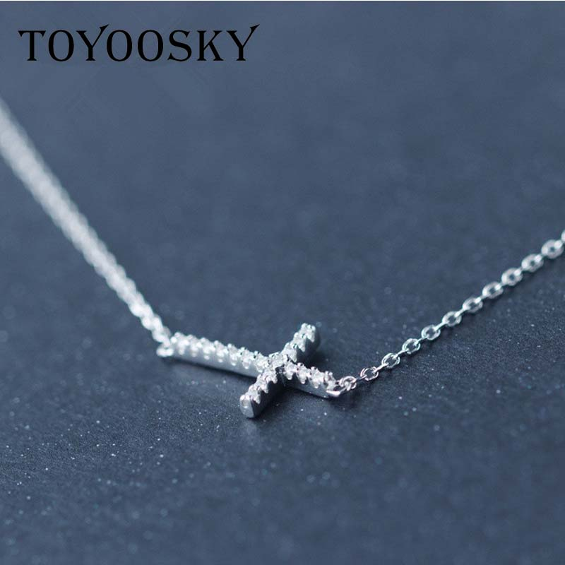 TOYOOSK Real. 925 Sterling Silver Micro Pave Small CZ Horizontal Sideways Cross Necklace Pendant Sterling-silver-Jewelry 18TOYOOSK Real. 925 Sterling Silver Micro Pave Small CZ Horizontal Sideways Cross Necklace Pendant Sterling-silver-Jewelry 18