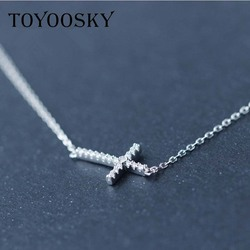 TOYOOSK Real. 925 Sterling Silver Micro Pave Small CZ Horizontal Sideways Cross Necklace Pendant Sterling-silver-Jewelry 18