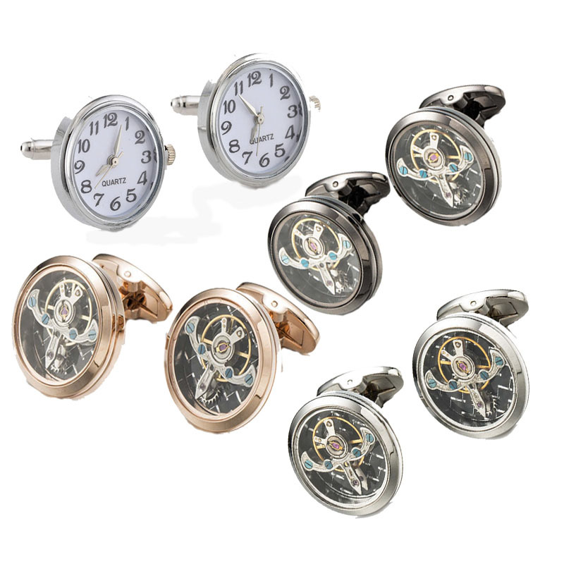 1 Pair High-end Watch Cufflinks Real Clock Cuff links With Battery Tourbill Cufflings Machine Core Mechanical Gemelos