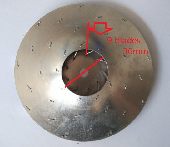Vacuum Cleaner Parts aluminum motor impeller fan blade 9 blades 112mm diameter 8mm hole 125mm flat aluminum fan blade impeller vacuum cleaner motor parts flat shape 8mm hole