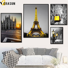 Yellow Light Paris Tower Cathedral Tram Wall Art Canvas Painting Nordic Posters And Prints Wall Pictures For Living Room Decor(China)