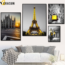 Yellow Paris Tower Church Tram Landscape Wall Art Canvas Painting Nordic Posters And Prints Pictures For Living Room Decor