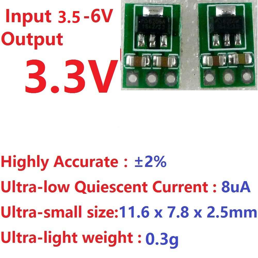 2x ultralichte ultradunne DC 3.7 V 4.2 V 4.5 V 5 V naar 3.3 V Step Down Buck Regulator LDO Module repl AMS1117-3.3 Voeding Board