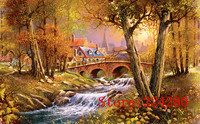 The bridge brook scenery Autumn forest Needlework Crafts 14ct Handmade Embroidery DMC Counted Cross Stitch Kits Set DIY Home de