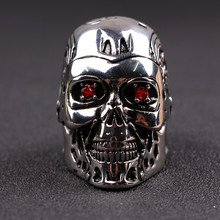 The Walking Dead Skeleton Skull Ring red Crystal eyes High Quality Steampunk Biker Terminator cool jewelry Accessories(China)