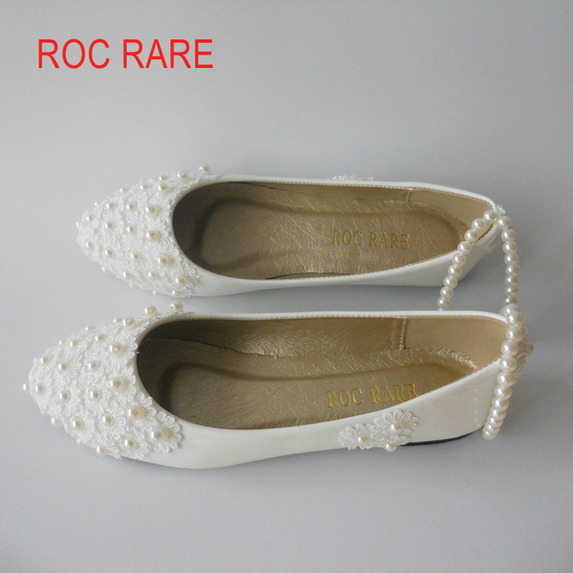 White Red Lace Pearls Foot Bandage Women Wedding Shoes Flat Heels Lace  Party Shoes Flat Heels Pointed Toes 3917c0acabd6