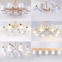 Modern Nordic Wooden Pendant Lights Living Room Restaurant Hanging Lights Stylish Logs Iron Droplight Black White