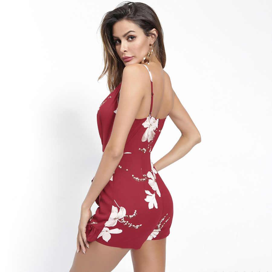 Красный цветочный принт комбинезон женский Лето 2019 новый бренд Спагетти ремень v-образный вырез цельный комбинезон