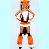 Woman Sexy Halloween Animal Cosplay Costumes Leather Fur Fox Orange Fox Role Play Disfraces Masquerade