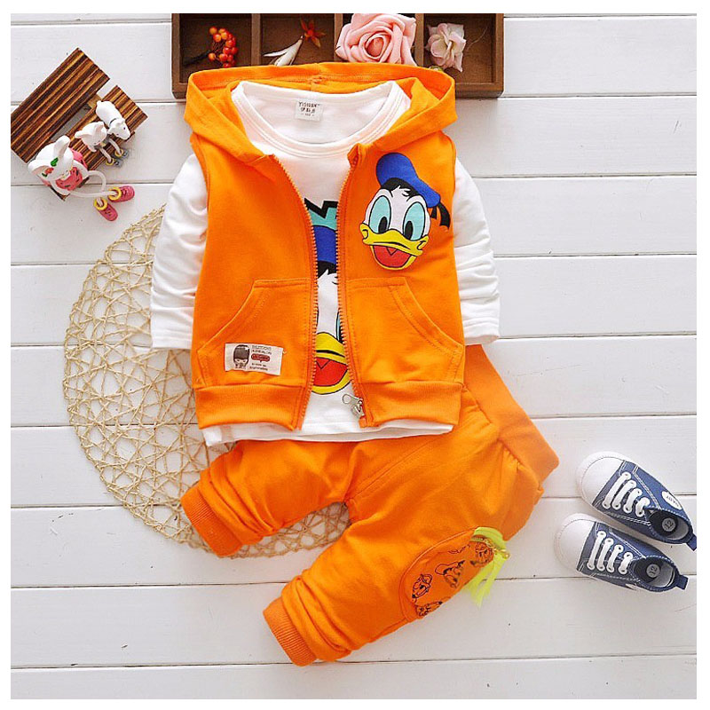 Childr Clothing 2017 Spring Autumn Boy girls 3-piece Children Suit Cartoon Prints For Kids Clothing 1-5 years Old babys Clothes kocotree suit for 3 12 years old children unisex cap scarf gloves winter warm three piece sets