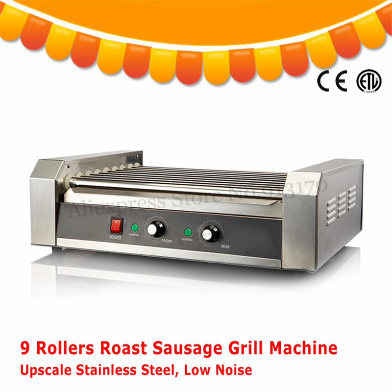 9 Rollers 1800W Hot Dogs Grill Electric Hot Dog Maker Commercial Hot-dog Sausage Grill Roasting Machine Low Noise CE